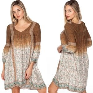 Bohemian Boho Crochet Ombré Dyed Floral Dress